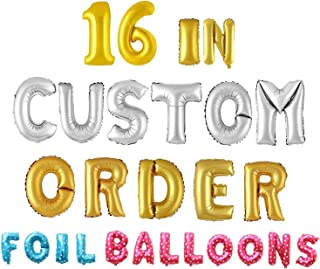 """Wubao Party-Balloons - Any Custom Phrase 16"""" Inch Alphabet Letters & Numbers Foil Mylar Balloon 