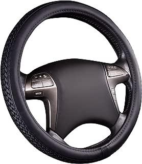 NEW ARRIVAL-HORSE KINGDOM Universal Faux Leather Weave Steering Wheel Covers Black Fit Car Truck SUV VAN'S (BLACK)