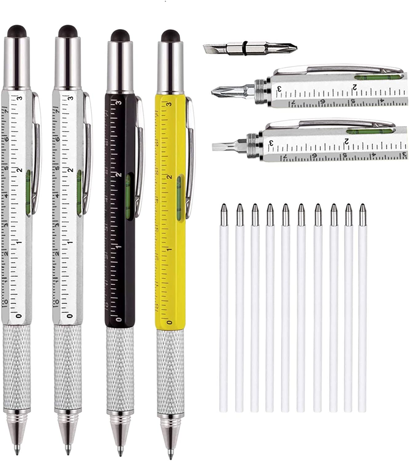 4 Pcs Unique Pen Gifts for Men, Multitool Women Pen Gift with Levelgauge, Screwdriver, Ballpoint Pen, Funny Gift for Christmas Father's Day Valentine Birthday Stylus (Two-Silver, Black,Light Yellow)