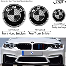 3pcs Black 82mm Hood Emblem/74mm Trunk Emblem/45mm Steering Wheel Center Emblem for BMW, Emblems Replacement for BMW X3 X5 X6 3 4 5 6 7 8 series 325i 328i E46 E30 E36 E34 E38 E39 E60 E65 E90
