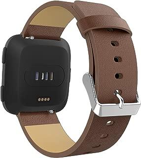 MoKo Fitbit Versa/Versa 2/Versa lite Edition/Versa Special Edition Band for Women Men, Premium Genuine Leather Lichee Pattern Replacement Strap for Fitbit Versa/Versa 2 Fitness Wristband - Brown