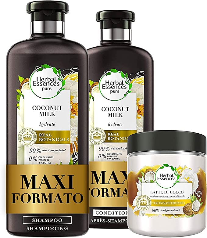 148 opinioni per Herbal Essences Latte di Cocco: Shampoo 400 ml + Balsamo, 360 ml + Maschera 250
