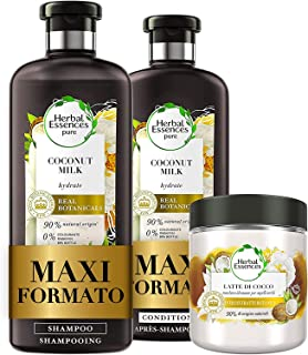 Herbal Essences Latte di Cocco: Shampoo 400 ml + Balsamo, 360 ml + Maschera 250 ml, Idratante, in Collaborazione con Giard...