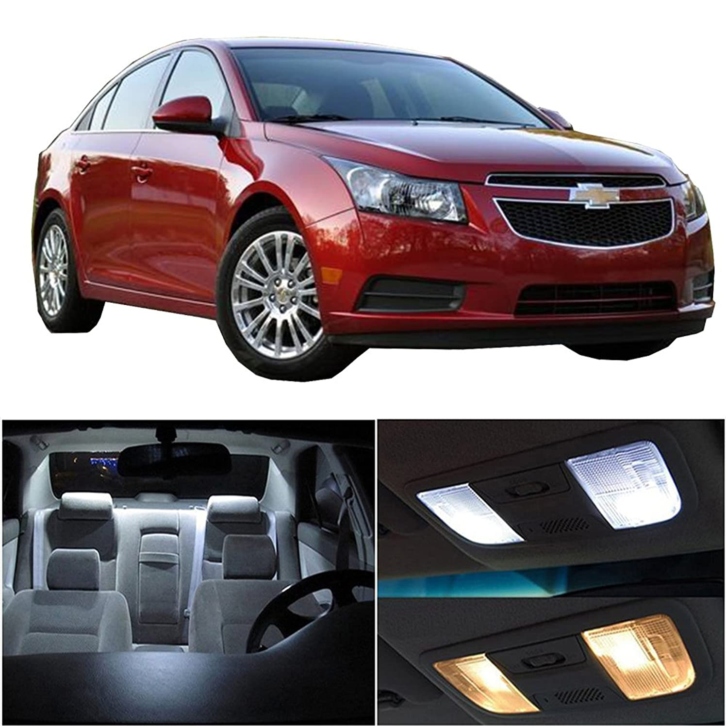 cciyu 11 Pack White LED Bulb LED Interior Lights Accessories Replacement Package Kit Replacement fit for 2014-2016 Chevy Cruze