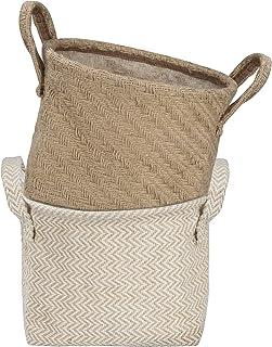 Petits paniers de Rangement Bacs de stockage en Tissu Lin avec poignée Pliable Organisateur de Bureau pour Jouets Llivres ...