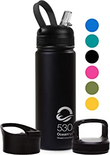 OceanOnlineStore Insulated Water Bottle - Thermos Flask - Stainless Steel - Inc. Straw, Carabiner and Wide Mouth Lid
