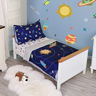 TILLYOU 5 Pieces Space Theme Toddler Bedding Set (Quilt, Fitted Sheet, Flat Sheet, Pillowcases) - Microfiber Printed Nursery Bedding for Boys Girls, Navy Blue