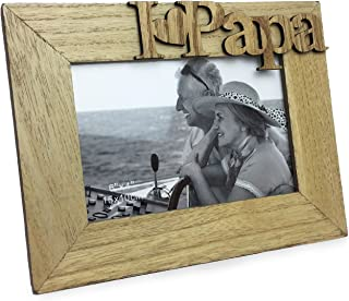 "Isaac Jacobs Natural Wood Sentiments ""I Love Papa"" / I Heart Papa Picture Frame, 4x6 inch, Photo Gift for Papa, Grandpa, Family, Display on Tabletop, Desk (Natural)"