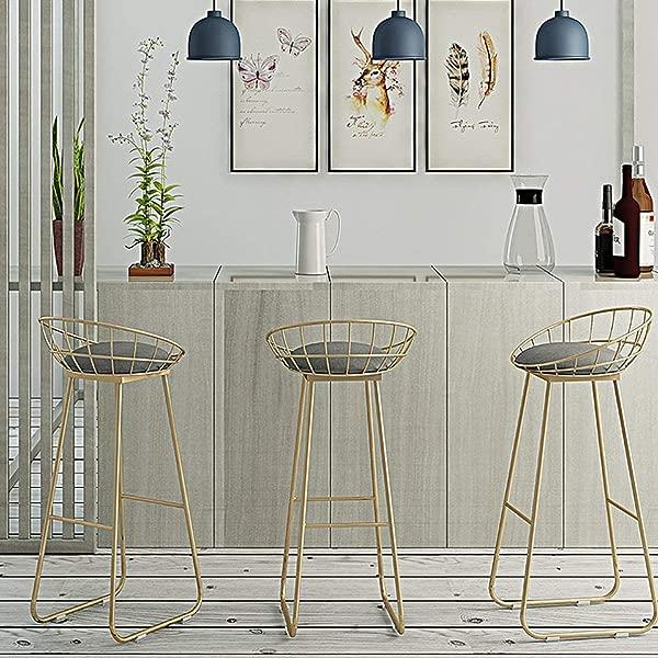 智慧酒吧椅现代简约风格酒吧凳带靠背脚凳高脚凳金色