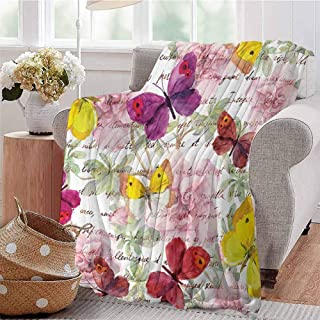 KFUTMD All Season Throw Blanket Flowers and Text Camellia Valentines Love Letters Romantic Calligraphy Antique Multicolor Dorm Bed Baby Cot Traveling Picnic W51 xL60