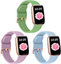 SinJonden 3-Pack Bands Compatible with Apple Watch 42mm 44mm 38mm 40mm, Silicone Bands with Rose Gold Buckle for iWatch Se...