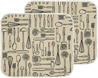 mDesign Ultra Absorbent Reversible Microfiber Dish Drying Mat and Protector for Kitchen Countertops, Sinks - Folds for Com...