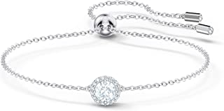 Swarovski Angelic Bracelet with Clear Crystals on a Rhodium Plated Chain with a Bolo Style Adjustable Closure
