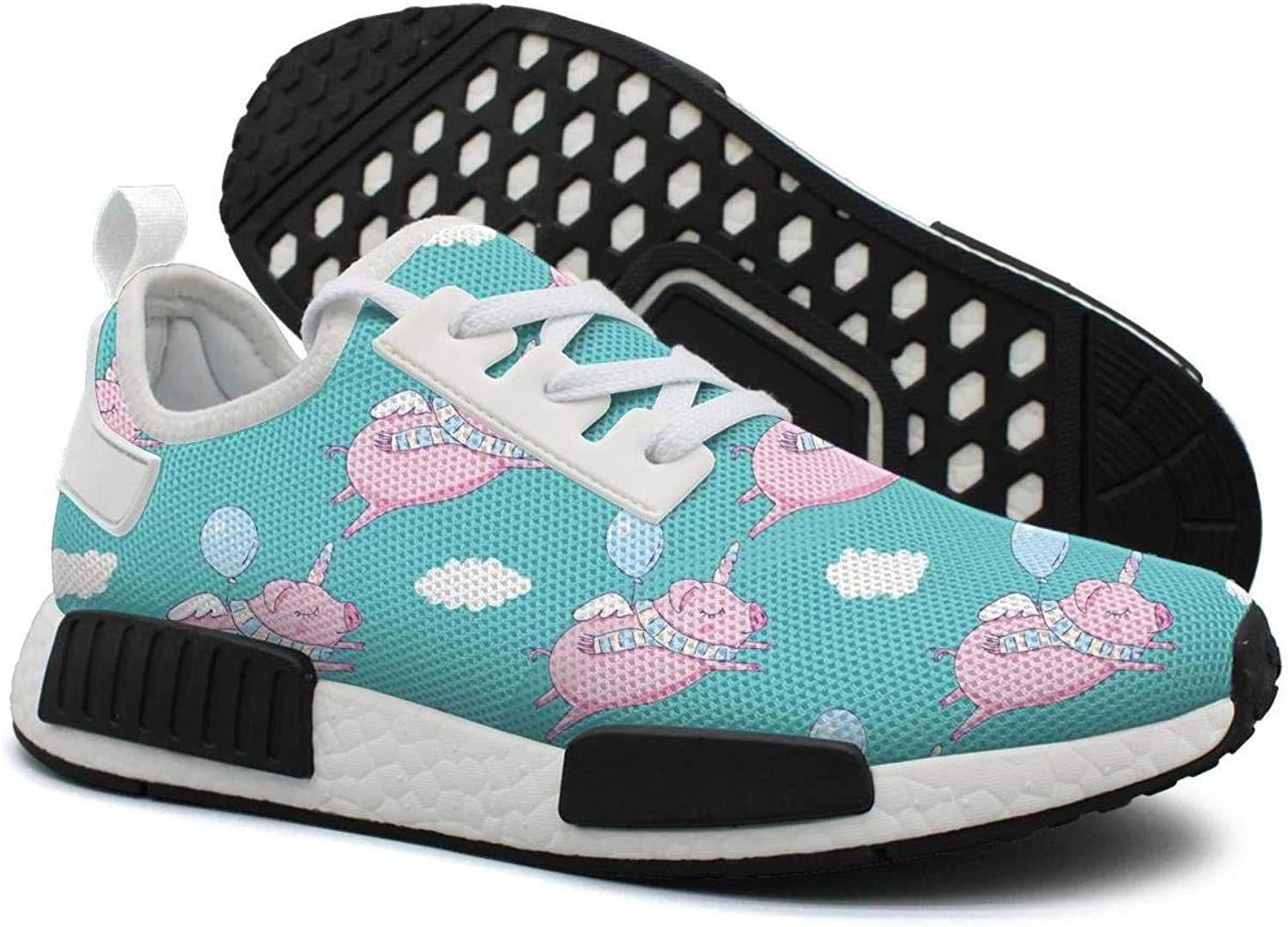 Pduiqo Cute Lazy Pig Sleeping in The Cloud As Pegasus Women's neon Lightweight Volleyball Sneakers Gym Outdoor Running shoes