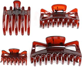 TRIXES Set of 4 Assorted Hair Claws - Small Medium Large and Flat Clamp Grips - Hair Styling Accessories for all Lengths