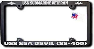 USN Submarine Vet USS SEA DEVIL (SS-400) Frame w/Metallic Silver Text & Dolphins
