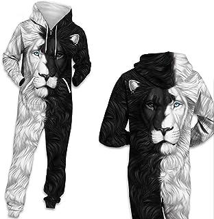 HGYJ Onesie Pijama,Mono Impreso en 3D de Ocio de Otoño/Invierno, Sudadera con Capucha de Lana con Cremallera para Amantes,...