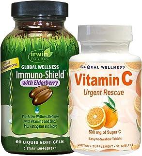 IRWIN NATURALS Global Wellness Immuno-Shield™* with Elderberry 60ct + Vitamin C 30ct Bonus Pack