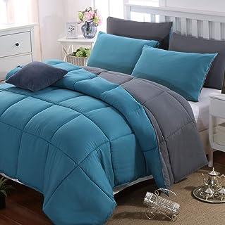 MOHAP Couette 4 Saisons 220x240cm Hypoallergénique Bicolore Lac Bleu + Gris Foncé Couette de Lit Réversible 2 Personnes Ed...