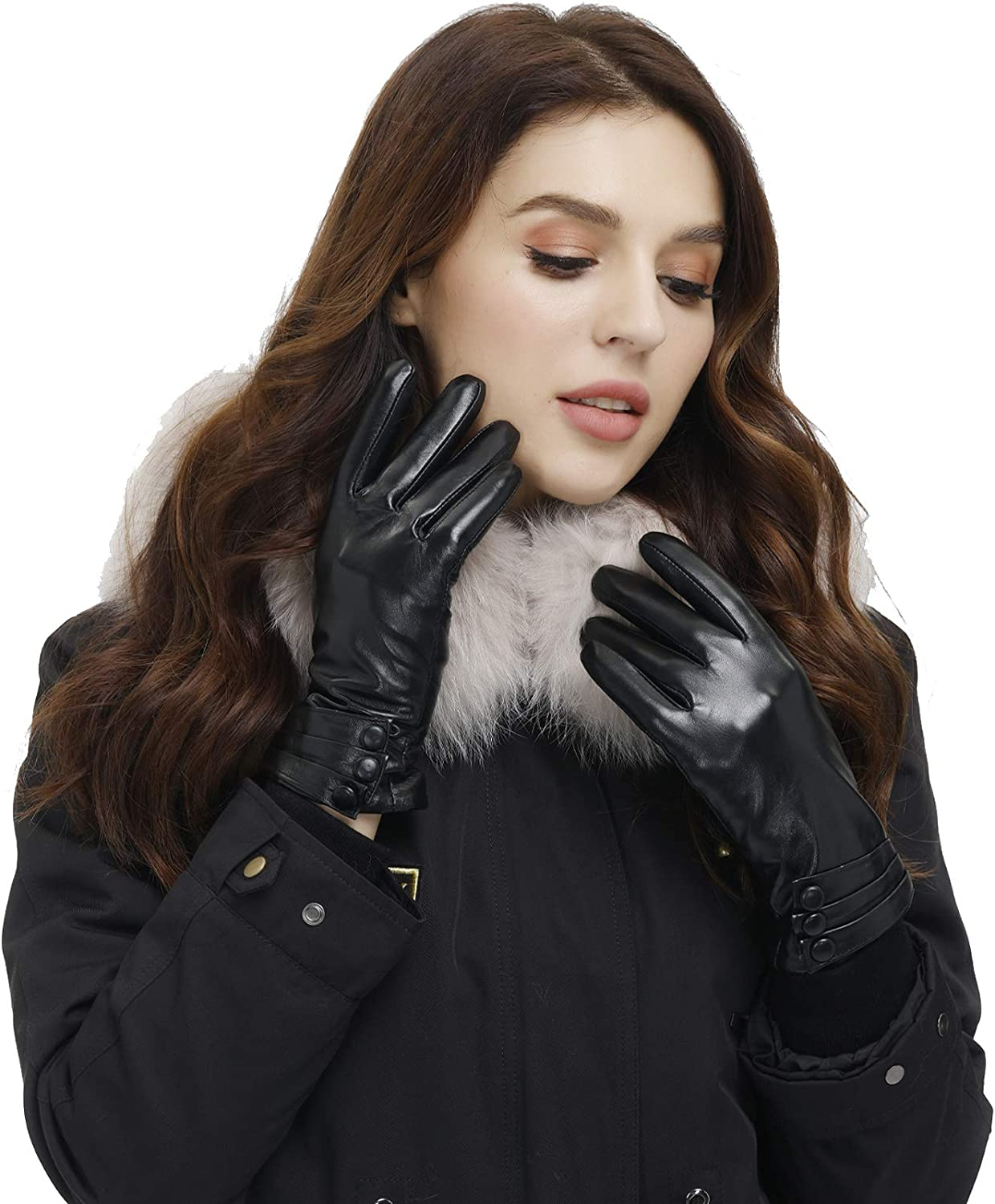 Isilila Soft Sheepskin Leather Gloves for Women, Premium Winter Warm Touchscreen Thermal Gloves for Texting/Driving/Typing