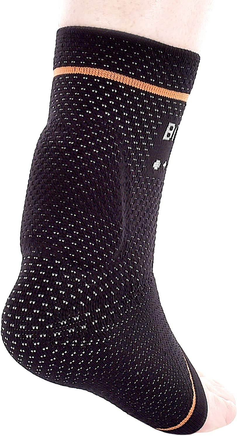 """BRD Sport Achilles Compression Ankle Brace - Medical Grade Brace Offers Breathable, Comfortable Recovery from Pain, Swelling, Tendonitis (Black with Orange Accent Stripe, M [8.25""""-9""""]): Health & Personal Care"""