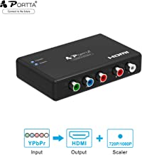 Portta YPbPr a HDMI Convertidor 1080P Scaler Componente RGB Audio Video Converter Component + Analog R / L Audio a HDMI Adaptador 720p 1080p para PS2 PS3 HDTV Notebook Laptop Laptop PC Proyector
