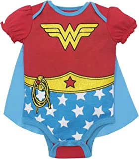 DC Comics Baby Girls' Bodysuit and Cape - Wonder Woman & Harley Quinn