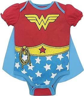 DC Comics Baby Girls' Bodysuit and Cape - Wonder Woman & Harley Quinn