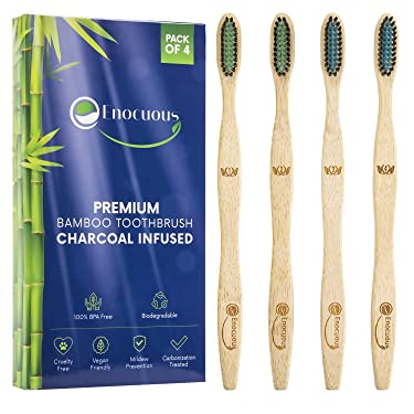 Enocuous Premium Biodegradable Bamboo Toothbrushes, Charcoal Infused, 100% BPA Free, Vegan friendly, Eco-Friendly, Cruelty-Free, Compostable, Bamboo (Soft Bristle)