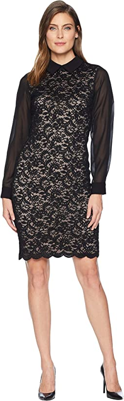 Collared Long Sleeve Lace Dress