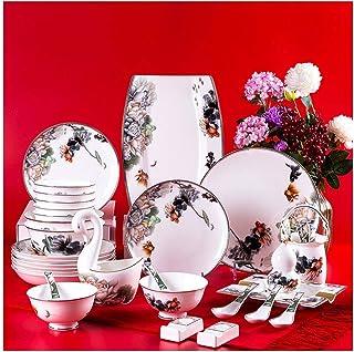 XUSHEN-HU Home AMINSHAP Service de table 60 pièces en porcelaine avec bol et assiette Motif Lotus Simple Phnom