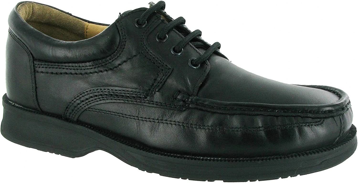 Amblers Mens Angus shoes Black Leather Apron Front Lace Up