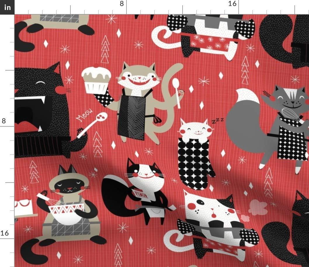 Spoonflower Fabric - Baking Cooking ストアー Cartoon Cats Fu Retro Animal 直送商品