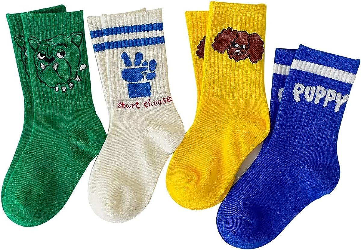 kids toddler athletic crew socks 4 pack boys girls cartoon cotton sport socks