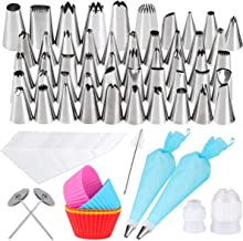 Gyvazla 72 Pieces Cake Decorating Set, Including 50 Icing Tips, 10 Disposable Icing Bags, 2 Reusable Piping Bags, 2 Flower...