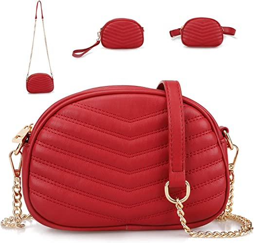 3 in 1 Fashion Waist Bags for Women Quilted Shoulder Purses with Chain Strap Small Ladies Fanny Packs Stylish Belt Bag