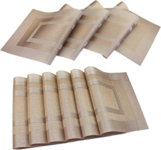 pigchcy Placemats with Matching Table Runner,Heat Insulation Vinyl Cross-Weave Washable Table Mats Sets(6pcs Placemats + 1pcs Table Runner,Champagne)