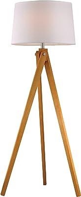 "Dimond Lighting D2469 Wooden Tripod Floor Lamp, Natural Wood Tone, 19"" x 19"" x 62.5"""