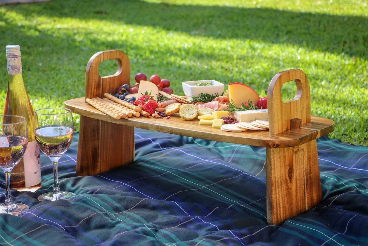 3 in 1 Large Elevated Serving Platter 24 inch x 11 inch x 7 inches high. Use as 3 individual cheese charcuterie boards of an elevated board ideal for dinner parties, dining table or picnics