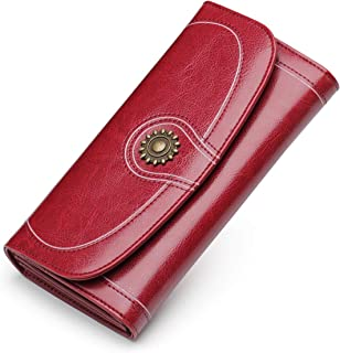 AIM Fashion Long Women's Wallet and Purse Vintage Leather Wallets Women Clutch Bags(Red)