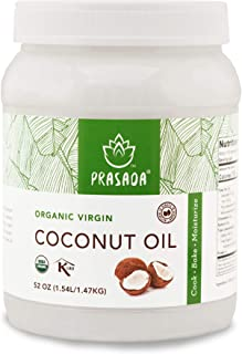 Prasada Organic Virgin Coconut Oil (52oz) | Cold-Pressed, Non-GMO, Single Origin | Perfect for Baking, Frying, Grilling and Cosmetic Application