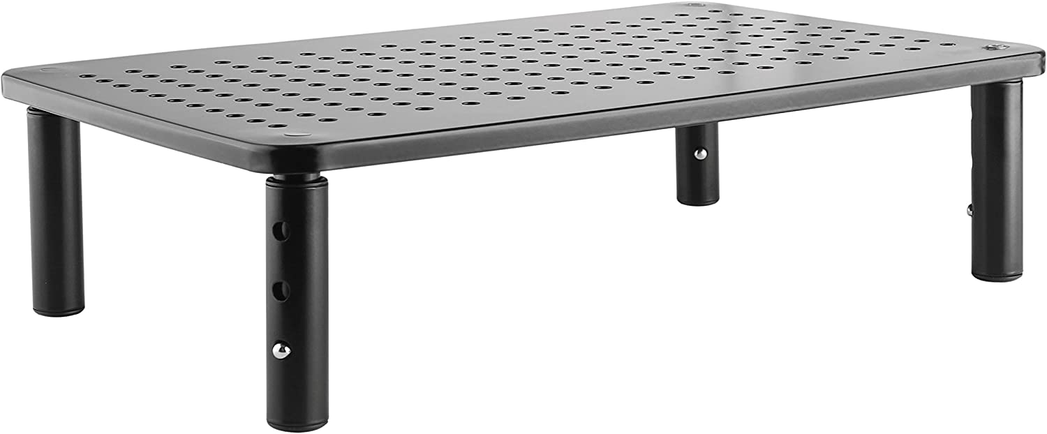 Premium PC Monitor & Laptop Stand with Sturdy, Stable Black Metal Construction. Fashionable Riser is Height Adjustable with Non-Skid Rubber. Perfect for Computer Monitor, iMac Stand, or Computer Shelf