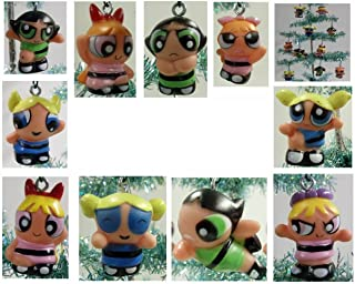 Set of 10 Power Puff Girls Christmas Tree Ornaments Featuring Various Powerpuff Girls Characters Including Blossom, Bubbles, and Buttercup