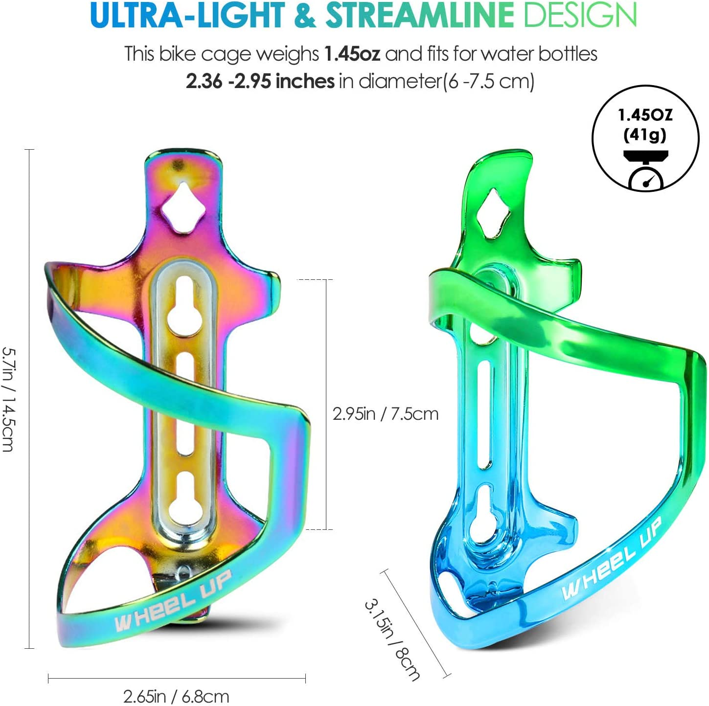 Hikenture Bike Water Bottle Cage with Screws Lightweight Colorful Mountain//Road Bicycle Drink Holder for Cups Easy to Mount