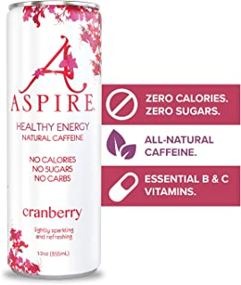 ASPIRE Healthy Energy Drink – Cranberry, 12 Pack – Zero Sugar, Calories or Carbs – Keto, Vegan, Kosher – Contains Natural ...