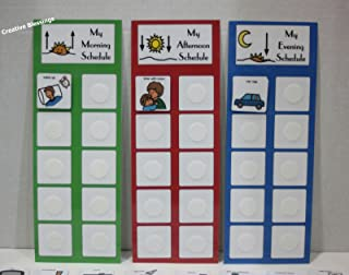 Daily Visual Picture Schedule W/ 3 Charts and 45 Colorful Picture Cards for Children/Adults W/Autism, Speech Delays