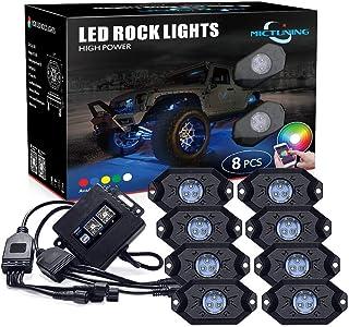 Auplew Unterbodenbeleuchtung Auto 8 Felsen Ambientebeleuchtung Auto RGB LED Rock Lights Neon Light Beleuchtungs Kit