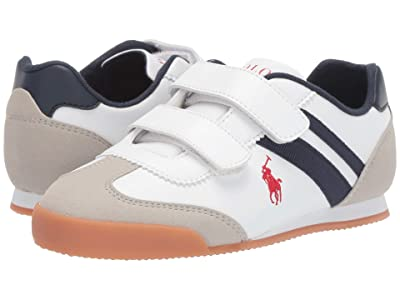 Polo Ralph Lauren Kids Emmons EZ (Little Kid) (White Smooth/Light Grey Microsuede/Navy/Red Pony Player) Kid