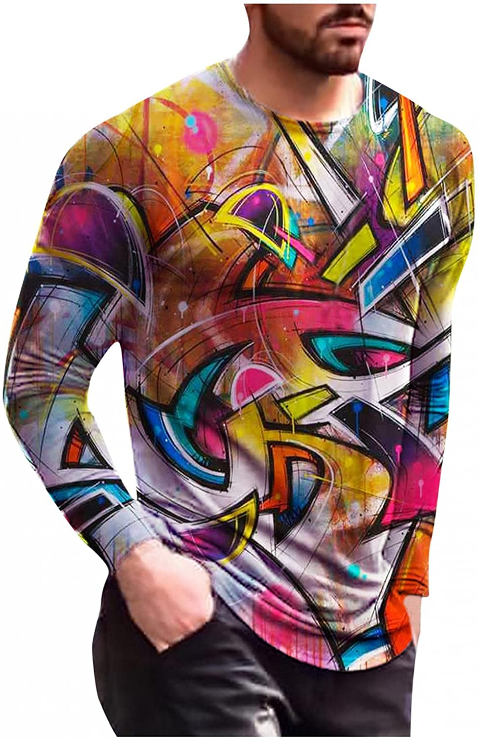 Aayomet Men's T-Shirts 3D Printed Pattern Long Sleeve Crew Neck Shirts Lightweight Pullover Slim Tops