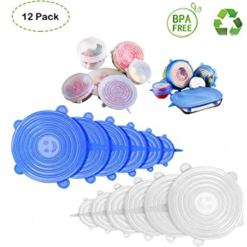 Silicone Stretch Lids, 12 Pack Double Color 6 Size Reusable Durable and Expandable Lids to Keep Food Fresh, Fit Various Sizes and Shapes of Containers Food Covers or Bowl Covers
